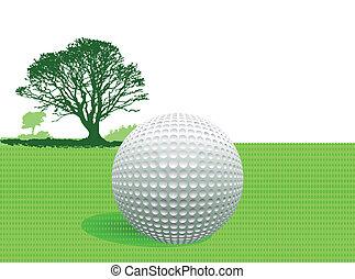 bola golfe, ligado, verde
