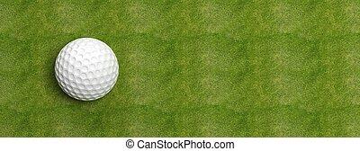 bola golfe, ligado, verde, relvar, bandeira