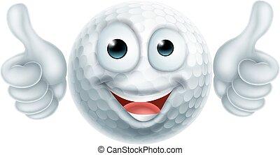 bola golfe, personagem, caricatura, homem