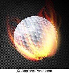 bola, golfe, queimadura, isolado, ilustração, fire., fundo, style., transparente