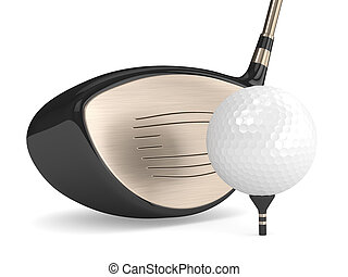 bola, golfe, render, clube, isolado, branca, 3d
