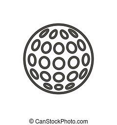 bola, golfe, símbolo., jogo, vector., relaxamento, linha, ícone