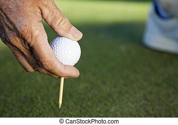 bola, golfe, &, tee, mão, homem sênior