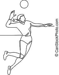 bola, golpear, contínuo, jogador voleibol, linha
