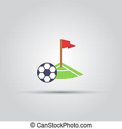 bola, isolado, vetorial, canto, futebol, pontapé, ícone