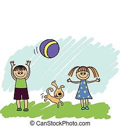 bola, jogar crianças