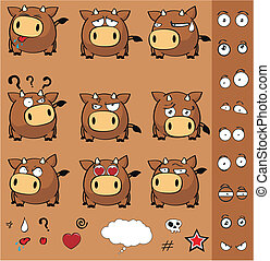 bola, jogo, caricatura, touro