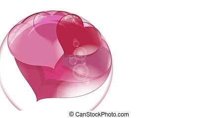 bola, lote, dentro, transparente, fundo, corações, branca, bolha, sabonetes, vermelho