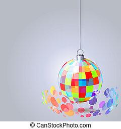 bola, luz, penduradas, cinzento, fundo, espelho, faíscas