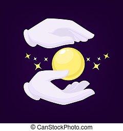 bola, mágicos, ilustração, cristal, vetorial, pretas, mãos