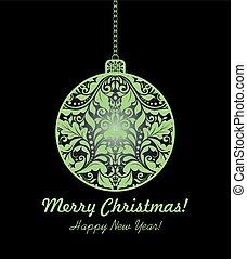 bola, magia, penduradas, floral, cartão natal