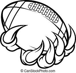 bola, monstro, animal, futebol, americano, segurando, garra