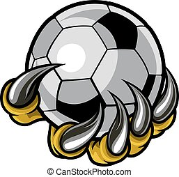 bola, monstro, animal, futebol, segurando, garra, futebol