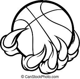 bola, monstro, basquetebol, animal, segurando, garra, ou