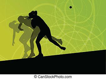 bola, mulher, tiro, jogar, putter, ilustração, silhuetas, vetorial, fundo, ativo, atletismo, desporto, abstratos