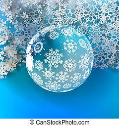 bola natal, feito, de, snowflakes.