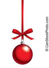 bola, natal, fita, vermelho
