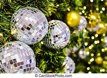 bola natal, luz, árvore, discoteca, decoração, bokeh, espelho, xmas