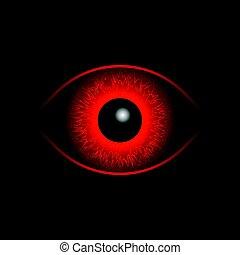 bola, olho, vermelho