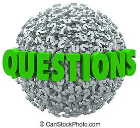bola, palavra, pergunta, respostas, marca, fazer pergunta