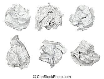 bola, papel amarrotado, frustração, lixo