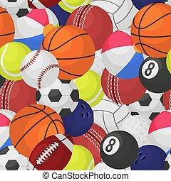 bola, rúgbi, brincando, tênis, pattern., seamless, futebol, equipamento, jogo, bolas, basebol, textura, basquetebol, desporto, caricatura