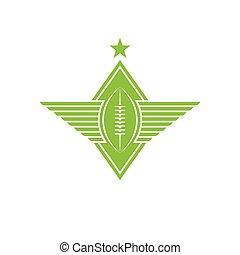 bola, rúgbi, futebol, asas, t-shirt, americano, impressão, emblema, ou, logotipo