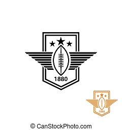 bola, rúgbi, futebol, ou, t-shirt, americano, impressão, emblema, desporto, estrela, asas, logotipo