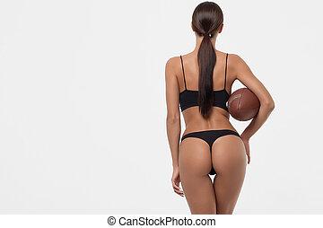 bola, rúgbi, langerie, jovem, costas, erótico, mulher segura, bundas, vista