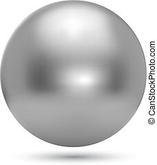 bola, realístico, cromo, isolado, Ilustração, fundo, vetorial, branca