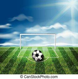 bola, realístico, vetorial, verde, estádio, ilustrações, futebol, 3d