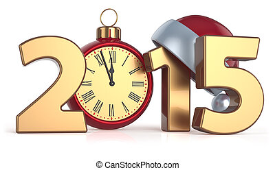 bola, relógio, alarme, ano,  2015, Novo, Natal, Feliz