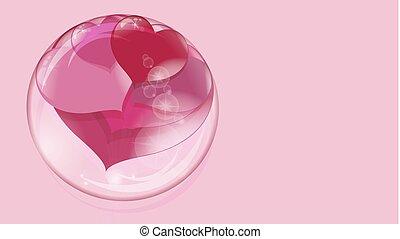 bola rosa, dentro, transparente, fundo, lote, corações, bolha, sabonetes, vermelho