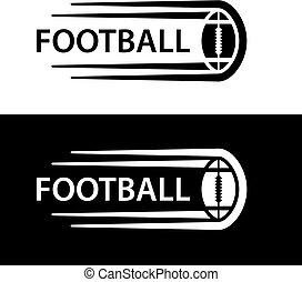 bola, símbolo, futebol, movimento, americano, linha