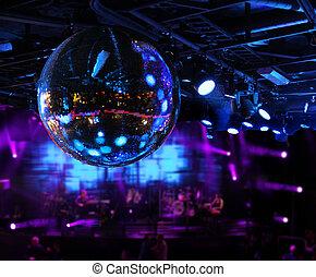 bola, sob, discoteca, faixa, espelho, tocando