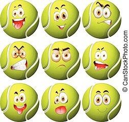 bola tênis, com, expressão facial