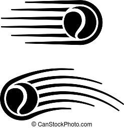 bola tênis, movimento, linha, símbolo