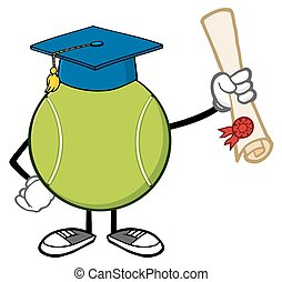 bola tênis, segurando, um, diploma
