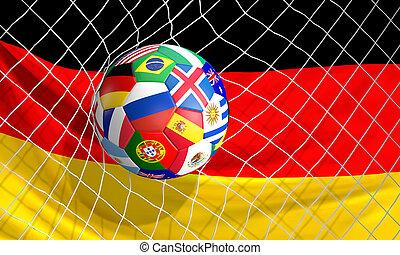 bola, tiro, meta, futebol, ilustração, futebol, 3d