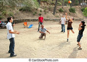 bola, tocando, pessoas