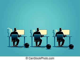 bola, trabalhando, acorrentado, computadores, homens negócios, ferro