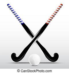 bola, varas, dois, hockey campo, fundo, branca
