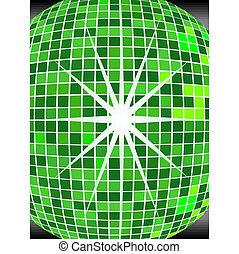 bola, verde, espelho