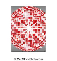 bola, vermelho, espelho