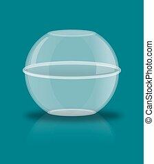 bola, vidro, reflexão., esfera, transparente, vazio