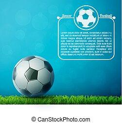 bola, voando, futebol, ar, experiência., grass., futebol