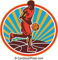 bola, woodcut, driblar, jogador, basquetebol, retro