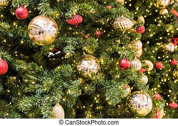 bolas, árvore, decorações natal