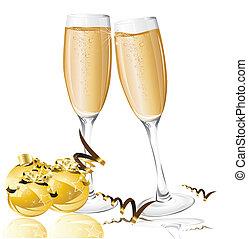 bolas, ano, champanhe, fundo, novo, feriado, óculos