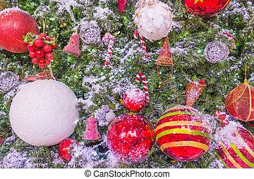 bolas, arte, cartão cumprimento, natal, vermelho